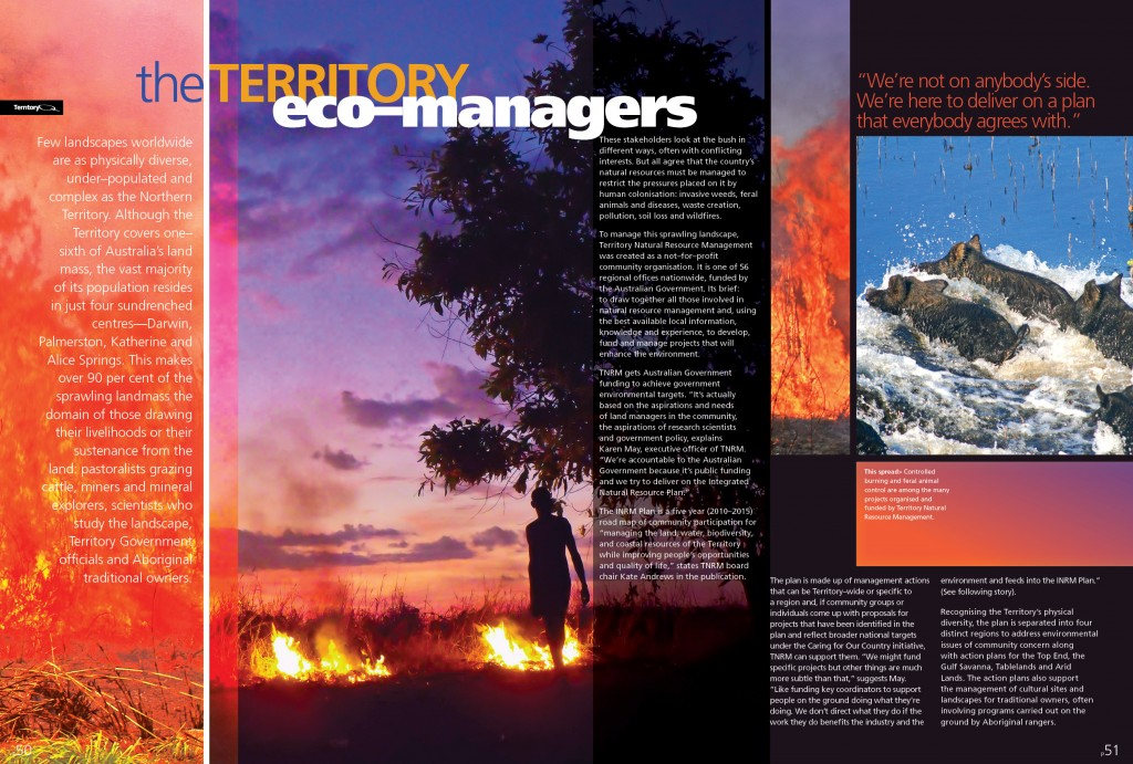 """""""Territory Eco-Managers"""" opening spread for article in the original Territory Q magazine."""