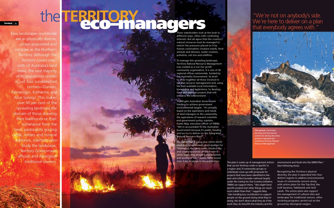 """The Territory's Eco Managers"" article layout."